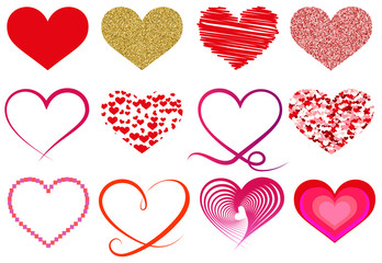 collection of different heart shape symbols
