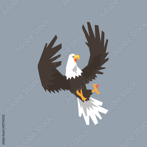 North American Bald Eagle Flying And Attacking Symbol Of Usa Vector