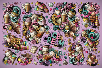 Colorful vector doodle cartoon set of ice-cream objects