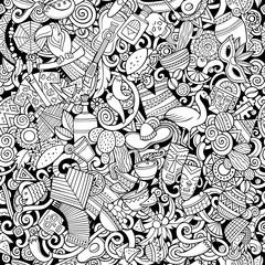 Cartoon cute doodles Latin America seamless pattern
