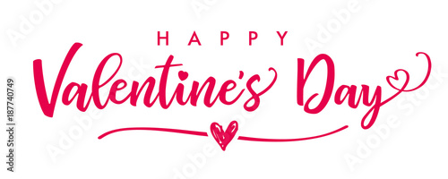 Lettering Happy Valentines Day Banner Valentines Day Greeting Card