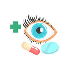 Human eye and pills, ophthalmology concept cartoon vector Illustration