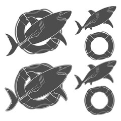 Set of black and white illustrations shark in the lifeline. Isolated vector objects on white background.