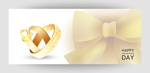 A horizontal gift design background with two gold rings and a heart. Invitation For Valentine's Day, Weddings. For a banner, postcards. flyer, label, certificate, company card. Vector.