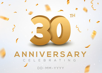 30 Anniversary gold numbers with golden confetti. Celebration 30th anniversary event party template