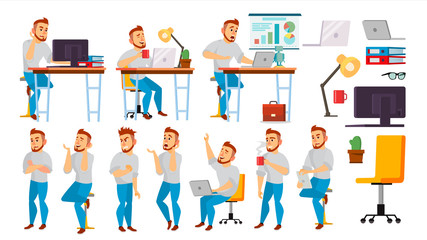 Business Character Vector. Working People Set. Environment Process. Office, Creative Studio. Full Length. Programmer, Designer, Manager. Different Poses, Face Emotions. Cartoon Character Illustration