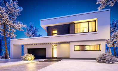 3d rendering of modern winter house at night
