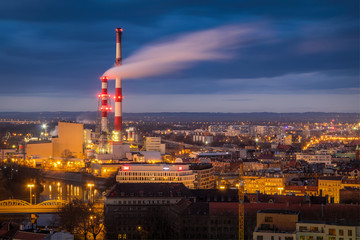 Wroclaw industry zone after the sunset, Poland