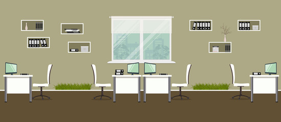 Modern office with white furniture and decorative grass. There are desks, chairs, shelves with documents on a window background in the picture. Vector illustration.