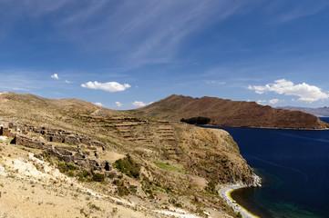 Bolivia, Titicaca lake. Inca prehistoric ruins on the Isla del Sol