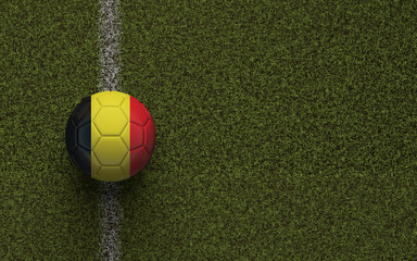 Belgium flag football on a green soccer pitch. 3D Rendering