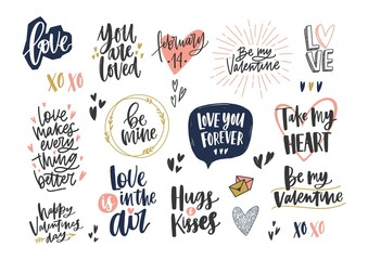 Collection of stylish Valentine s day letterings with various phrases, quotes and holiday wishes decorated by hearts isolated on white background. Colorful modern festive vector illustration.