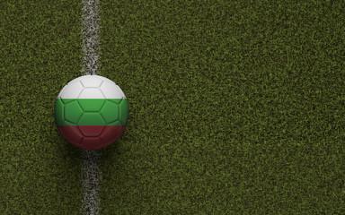 Bulgaira flag football on a green soccer pitch. 3D Rendering