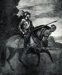 Charles I of Spain and V of the Holy Roman Empire going to battle of Mühlberg, 1548, Titian's equestrian portrait (from Spamers Illustrierte  Weltgeschichte, 1894, 5[1], 377)