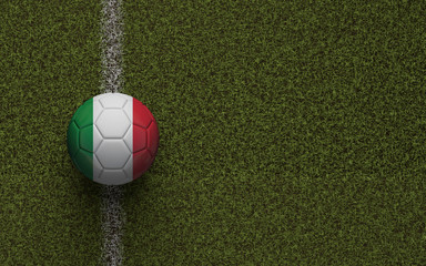 Italy flag football on a green soccer pitch. 3D Rendering