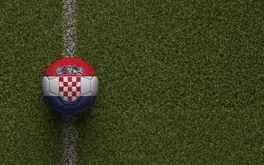 Croatia flag football on a green soccer pitch. 3D Rendering