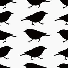 black little bird silhouette seamless pattern