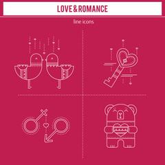 Romantic icons set