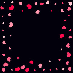 Hearts Confetti Falling Background. St. Valentine's Day pattern.