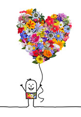 Cartoon Character with Big Heart  Flowers Balloon