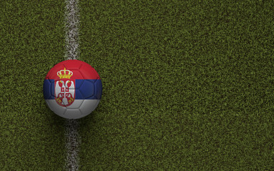 Serbia flag football on a green soccer pitch. 3D Rendering