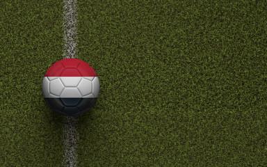 Yemen flag football on a green soccer pitch. 3D Rendering