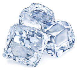 Macro picture of three ice cubes. Clipping path.