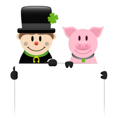 Chimney Sweeper & Pig Holding Label