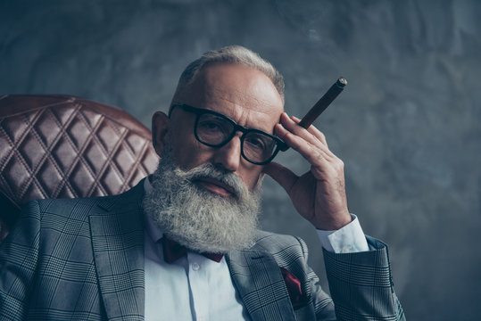 Close up of dreamy gentlemen,  selective, bearded investor in glasses, hold hand with cigar on temple, nicotine, habit, in tuxedo with bow tie, jacket, sit in leather armchair over gray background