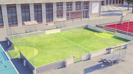 Soccer field with blank commercial boards