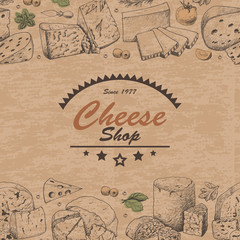 Horizontal background with cheese products