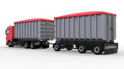 Large red truck with separate trailer, for transportation of agricultural and building bulk materials and products. 3d rendering.