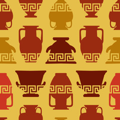 Greek vases, Meander ornament. Seamless pattern