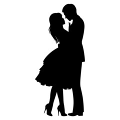 Stock vector illustration of a silhouette of loving couple hugging/Hugging loving couple/Stock vector illustration
