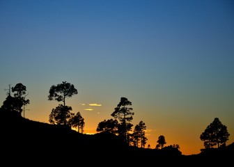 Beautiful sunset in the natural park of Pilancones, mountains of Gran canaria island, Spain