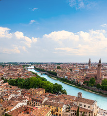 Beautiful cityscape. Aerial view of Verona, Italy, Veneto region. Beautiful sunny panorama with space for text.