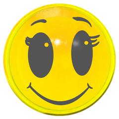 smiley souriant sur bouton jaune