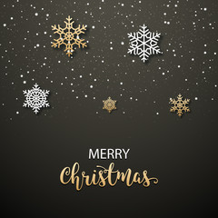 Christmas poster invitation decoration design. Xmas holiday template background with snowflakes