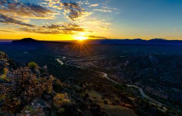 Colorful sunrise over Rio Grande in Los Alamos, New Mexico