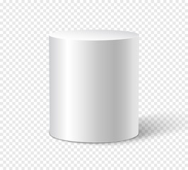 White cylinder on isolated background. 3d object cylinder container design template