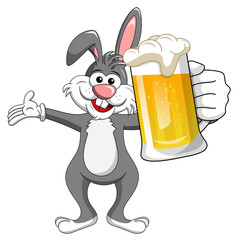 bunny or rabbit drinking mug beer isolated