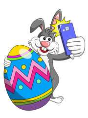 bunny or rabbit taking selfie photo smartphone with decorated egg easter isolated
