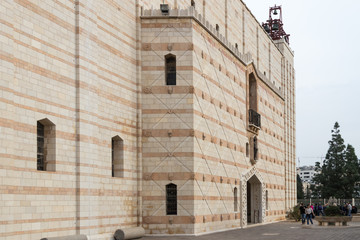 Fragment of the facade of the Basilica of the Annunciation in the old city of Nazareth in Israel