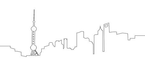 Isolated cityscape of Shanghai