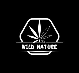weed marijuana retro logo badge