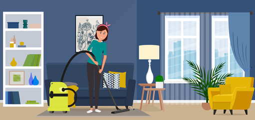 Beautiful housewife woman vacuuming a carpet.
