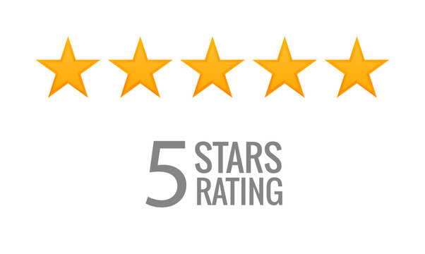 5 star rating icon vector. Rate vote like ranking symbol