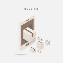isometric. icon Mobile Delivery, vector symbol in style isolated on white background. a parcel