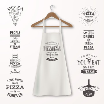 Vector realistic white cotton kitchen apron with clothes wooden hanger and quotes about pizza set closeup isolated on white. Design template, mock up for branding, graphics, advertising, printing