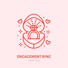 Shining brilliant ring in heart shaped gift box illustration. Jewelry flat line icon, jewellery store logo. Jewels engagement accessories sign.